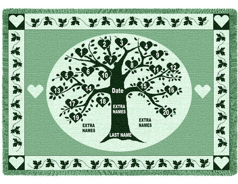 Hunter Green Heart Family Tree Afghan