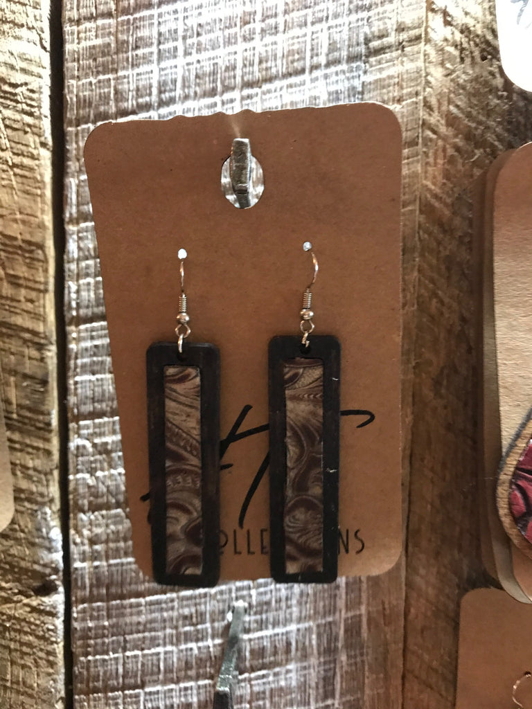 Dark Walnut Rectangle Wood with Ivory and Tan Leather Inlay Earrings