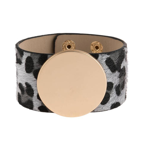 LEOPARD PRINT LEATHER AND METAL BRACELET