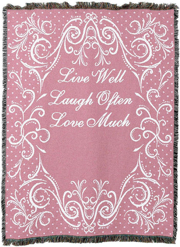 Live Well Laugh Often Love Much Throw-Pink