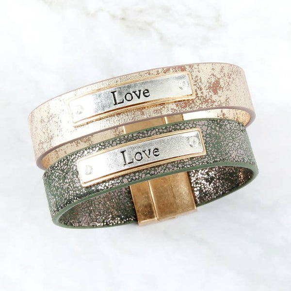 """LOVE"" FAUX LEATHER BRACELET"