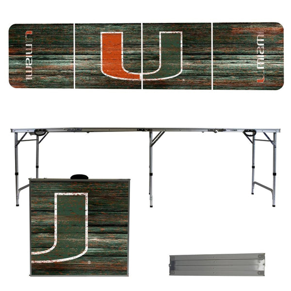 Miami Hurricanes 2' x 8' Tailgate Pong Table