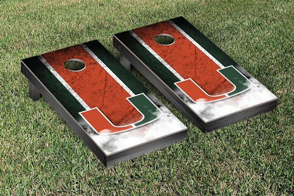 Miami Hurricanes Cornhole Boards, Custom All Weather Cornhole Bags & Carrying Case Package
