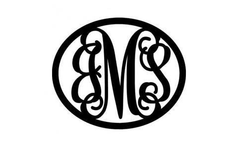3-Letter Script Monogram in Oval
