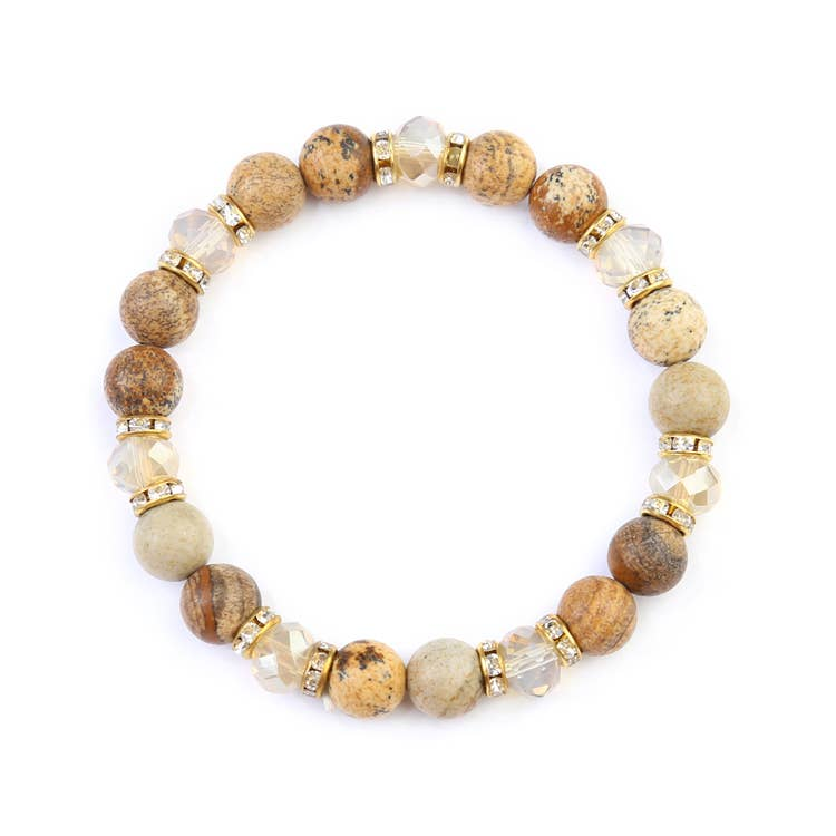 NATURAL STONE BROWN STRETCHABLE BRACELET