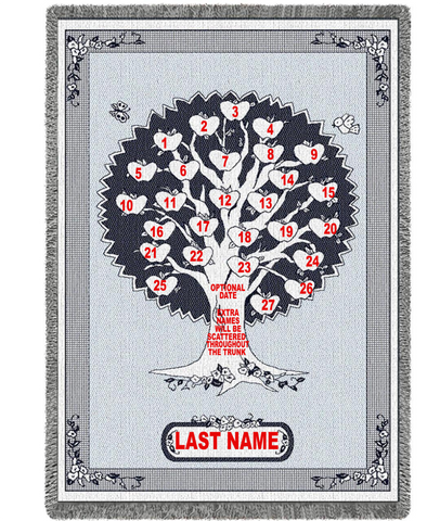 Navy Heart Family Tree Afghan