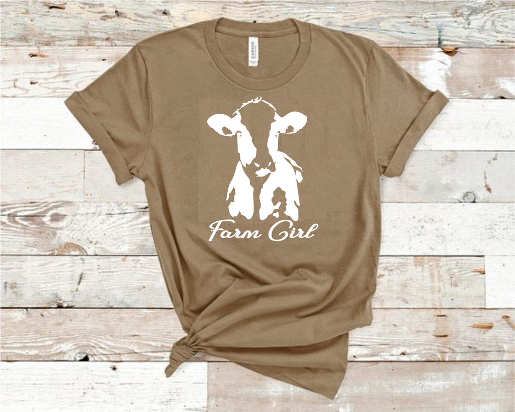 Farm Girl Cow Heather Tan Bella T-Shirt