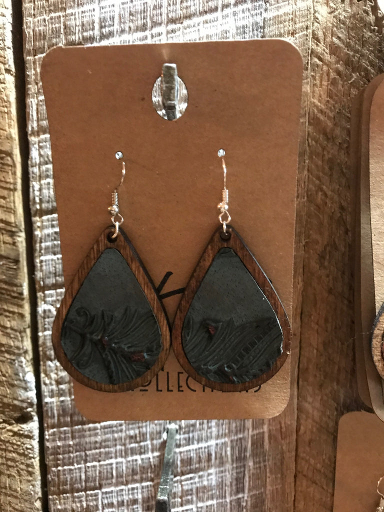 Early American Teardrop Wood with Teal Leather Inlay Earrings