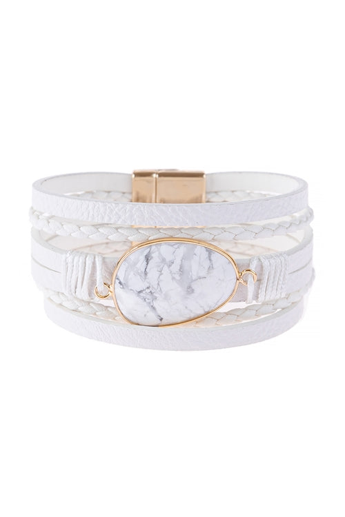 WHITE MULTI LINE LEATHER WITH MAGNETIC LOCK CHARM BRACELET