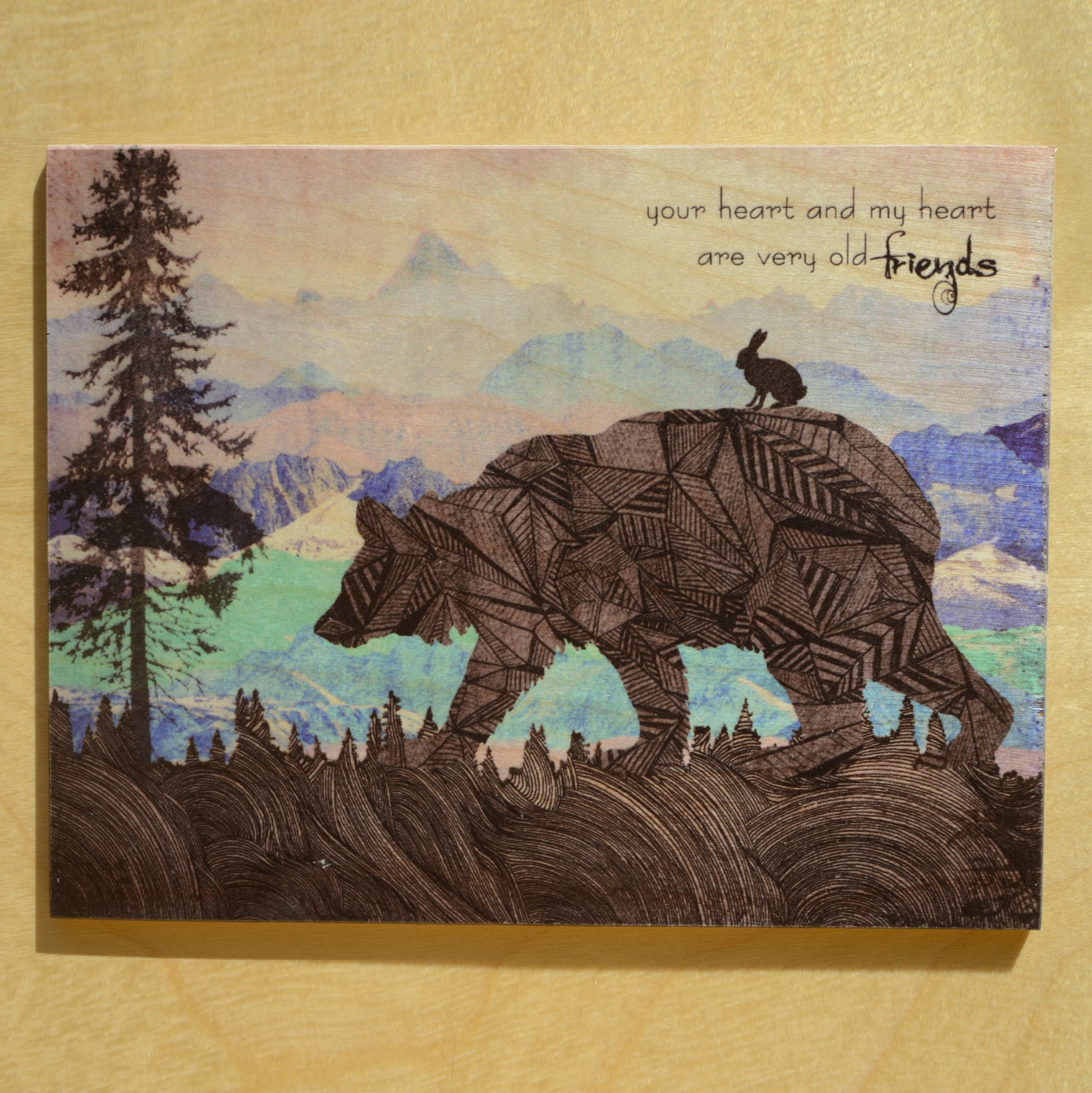 Big Bear and the Wolf {WOODEN ART PRINTS}