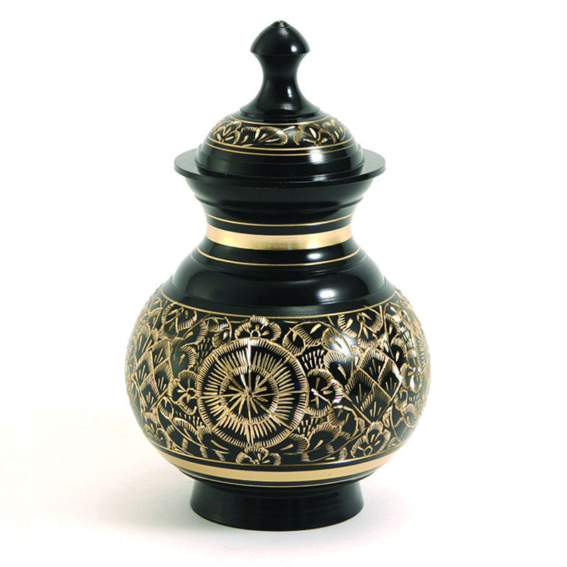 70 cubic inches. Black lacquer and brass pet cremation urn. Large. OneWorld Memorials.