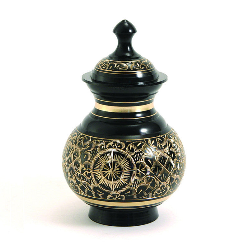 Black and brass Timeless Pet Cremation Urn. 40 cubic inches. OneWorld Memorials.