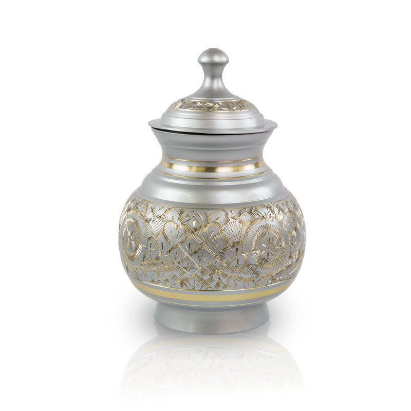 Timeless pet cremation urn in pewter. 20 cubic inches. OneWorld Memorials.