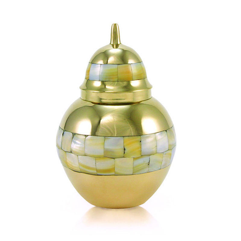 Small-sized, cremation urn for ashes. Bronze plated brass with mother of pearl pieces accenting the band.