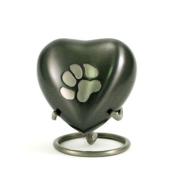Slate heart keepsake for pets with a pewter paw print accent. 3 cubic inches of storage. OneWorld Memorials.