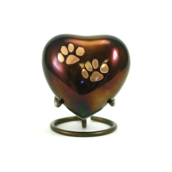 Raku styled pet cremation urn with copper paw prints. Engraving available. 3 cubic inches. OneWorld Memorials.