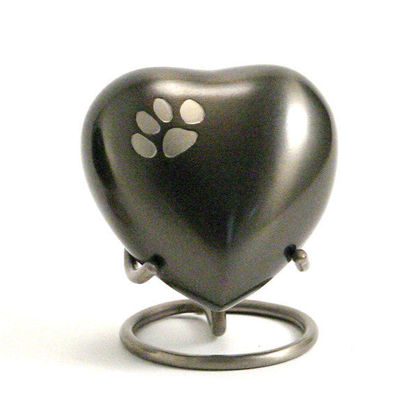 Slate cremation keepsake urn with a pewter paw print. 3 cubic inches of storage. OneWorld Memorials.