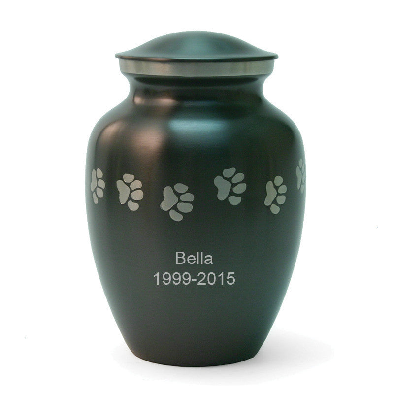 Slate cremation pet urn with pewter paw print designs. 85 cubic inches. Large sized pet urn. OneWorld Memorials.