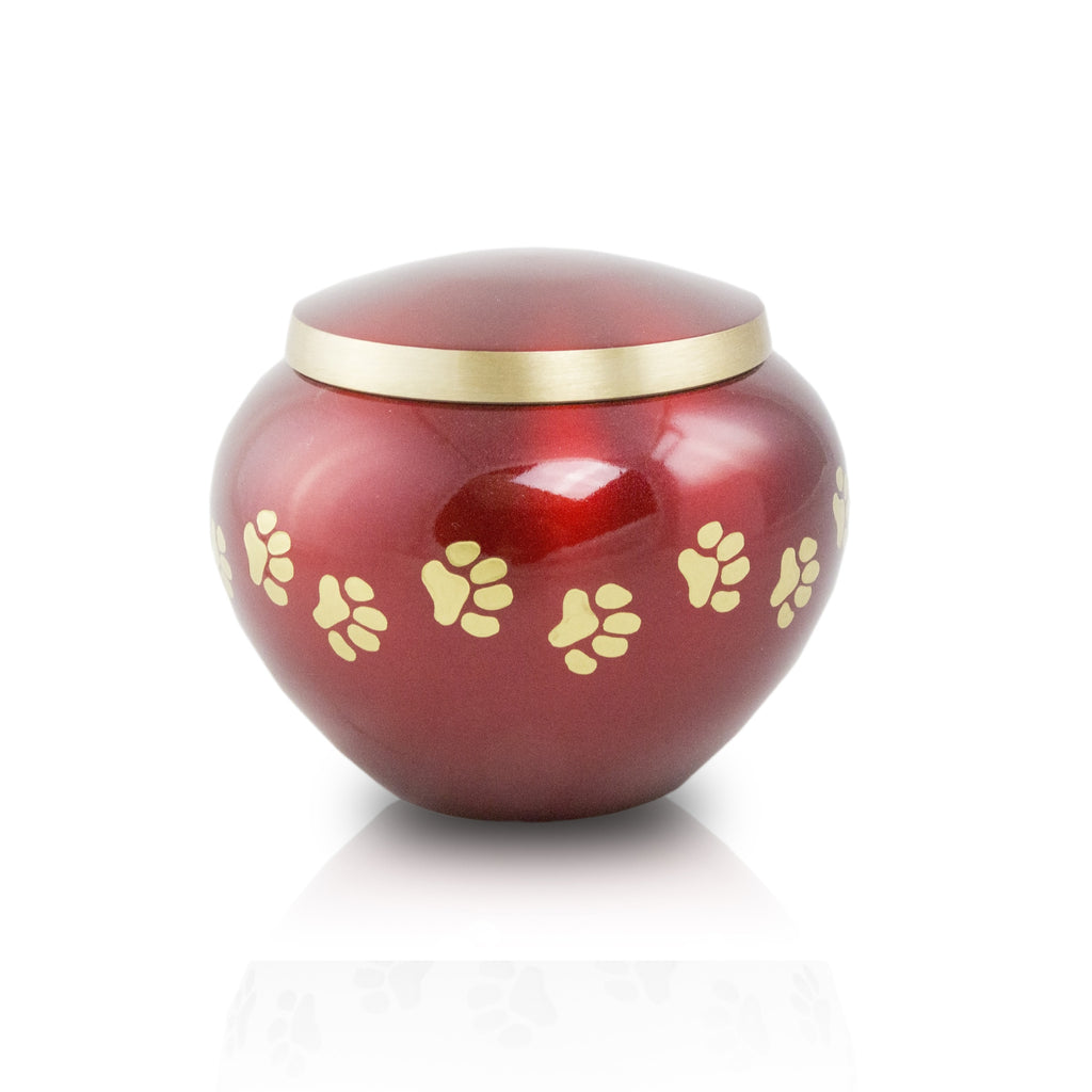 Petite sized pet cremation urn. Crimson and bronze. Paw prints. 25 cubic inches.