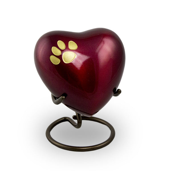 Heart shaped keepsake for pets. Crimson with bronze paw print.
