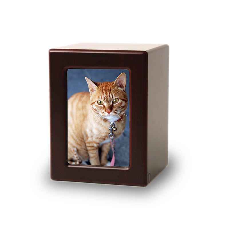 Cherry Wooden Pet Photo Cremation Urn - Extra Small
