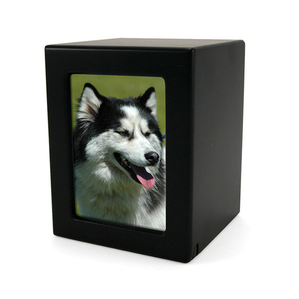 Small sized MDF photo urn for pets. Engraving available. 40 cubic inches. OneWorld Memorials.