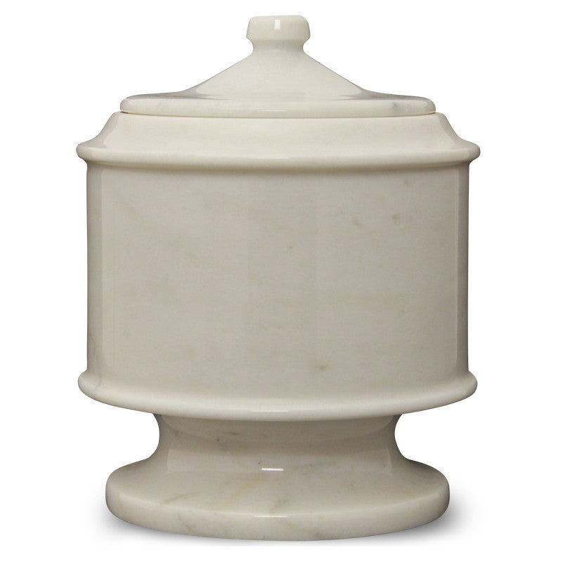 White Antique Marble Pet Cremation Urn for Ashes