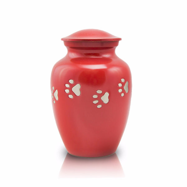 Sienna small cremation urn for pets. Pet paws. 30 cubic inches. OneWorld Memorials.
