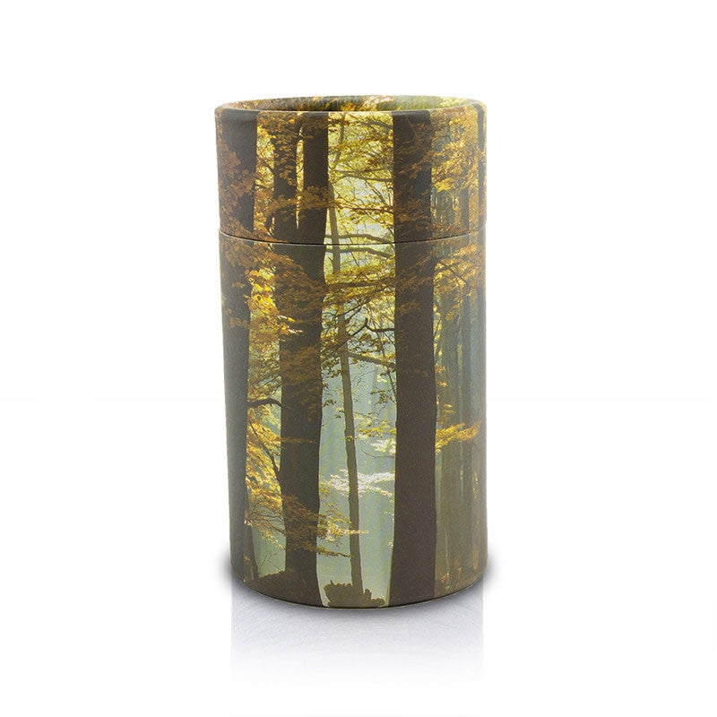 Petite sized scattering tube with an autumn wood design.