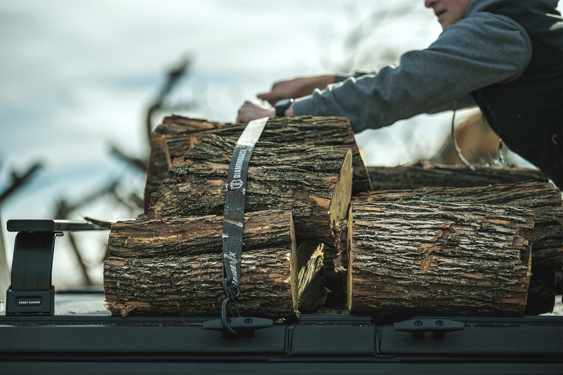 hauling wood on truck cover