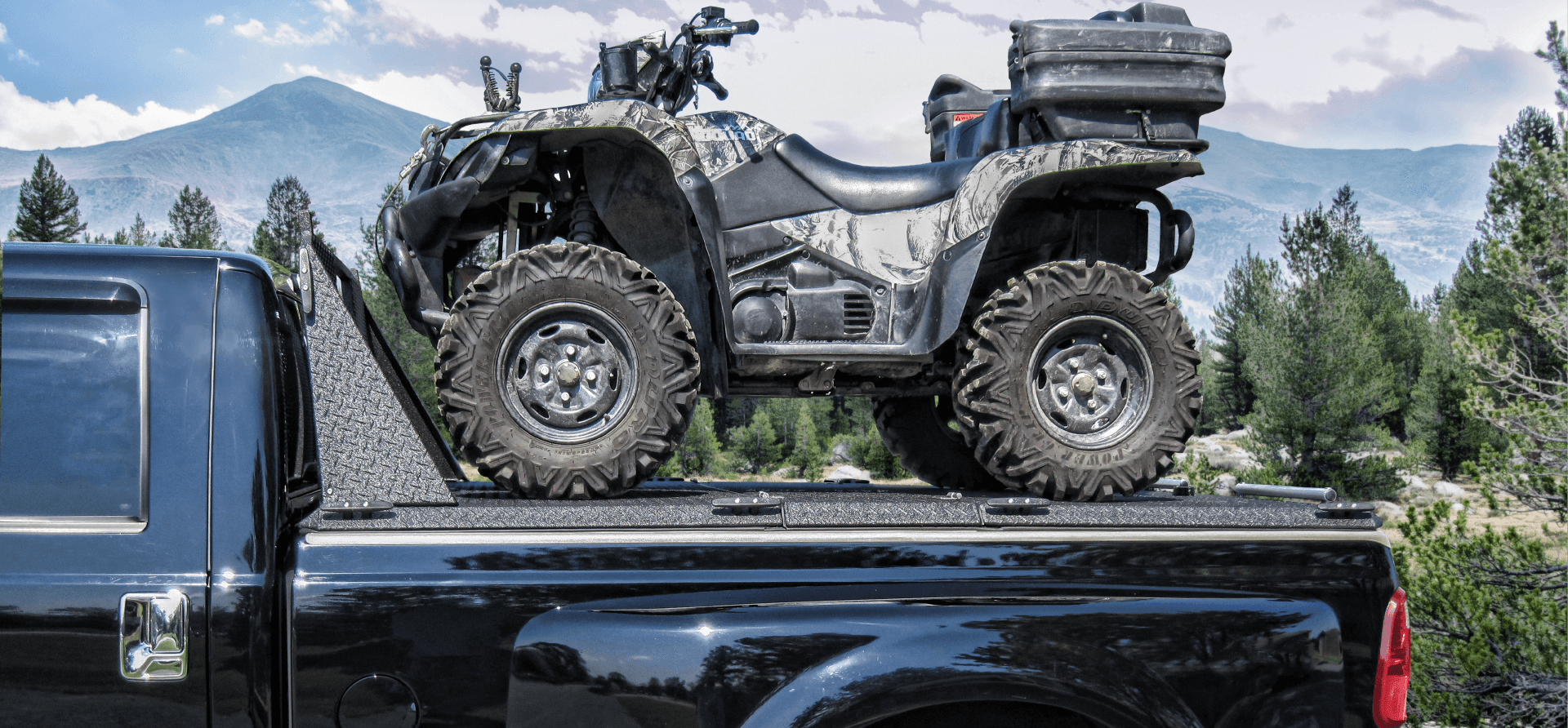 rear loading atv carrier on ford super duty with one atv