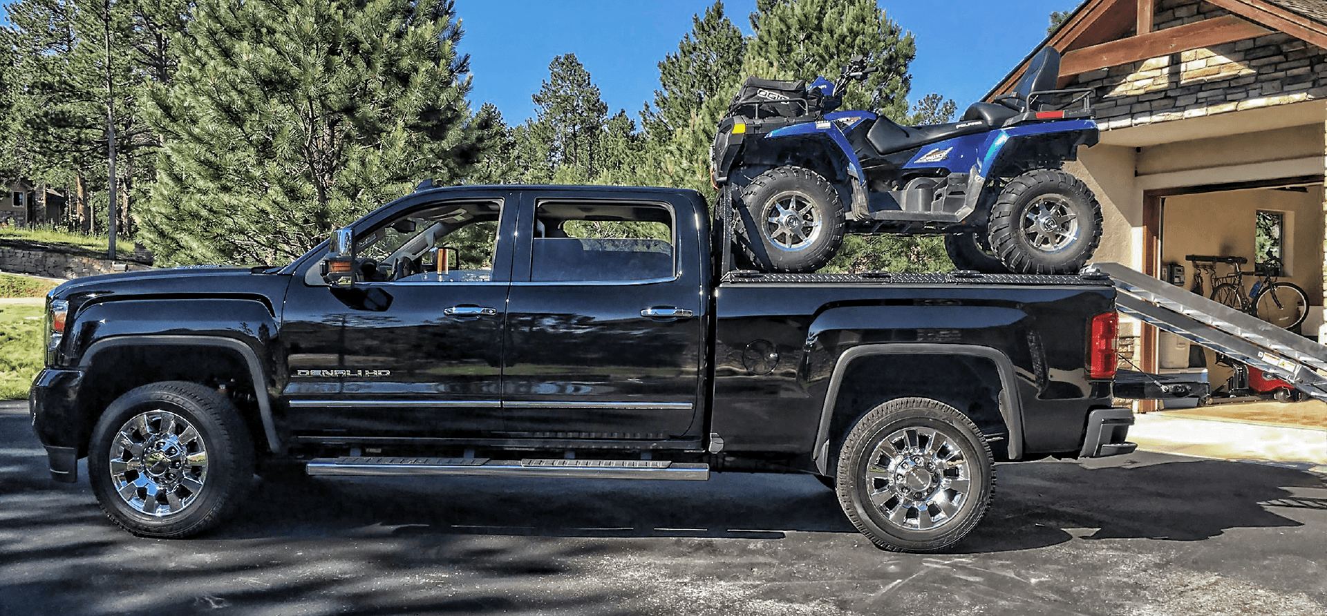 rear loading atv carrier on gmc sierra with one atv