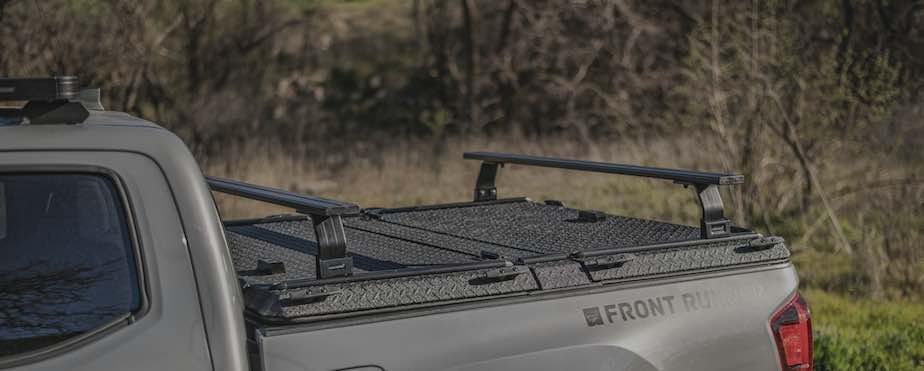 Front Runner DiamondBack Rack System with two load bars on Toyota Tacoma