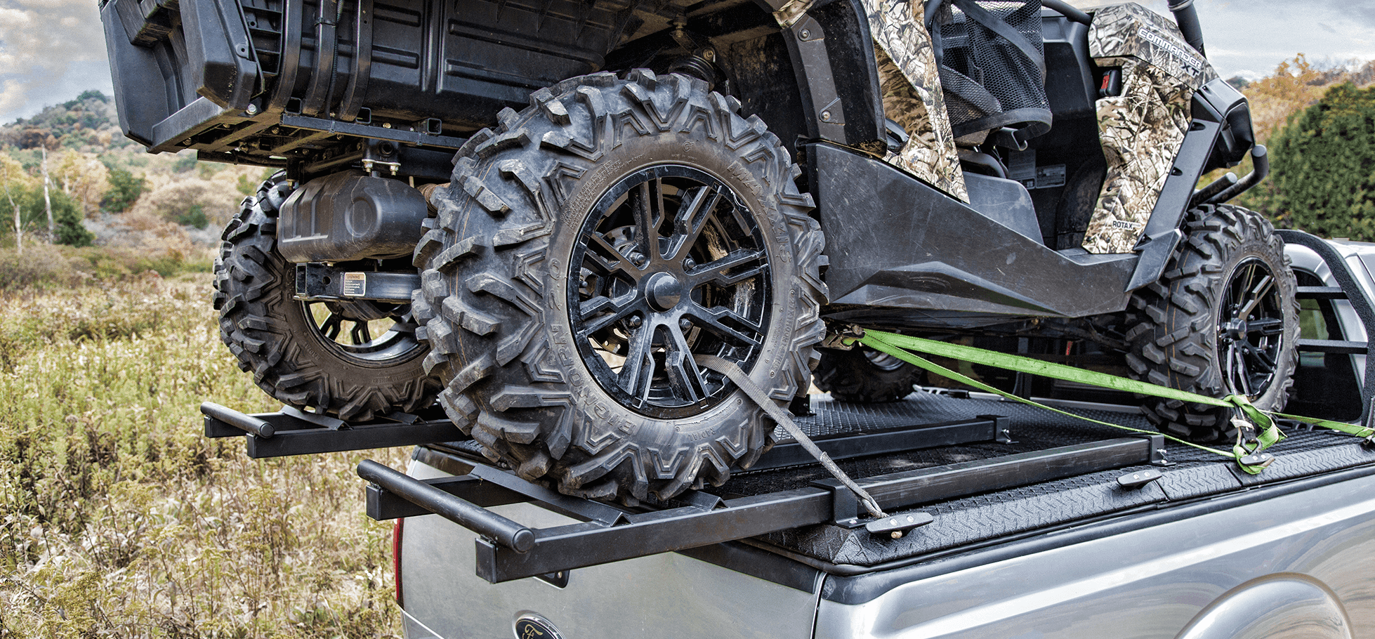 close up of utv truck rack on ford super duty with one sxs