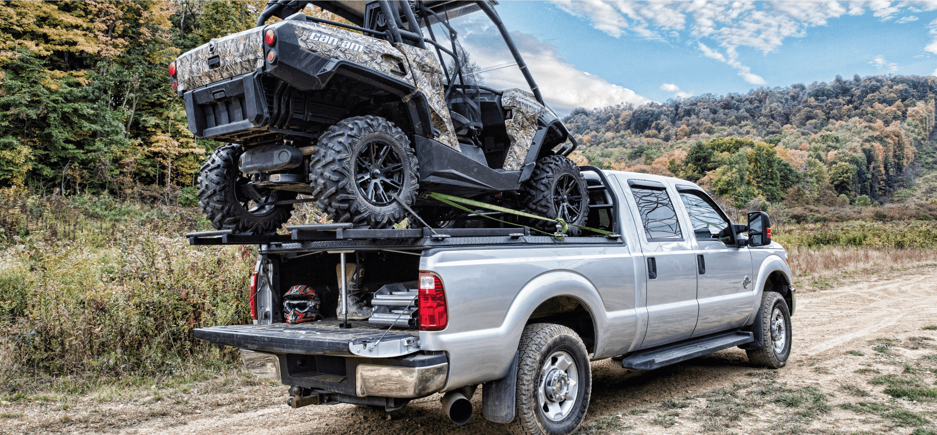 off road utv truck rack with sxs on top