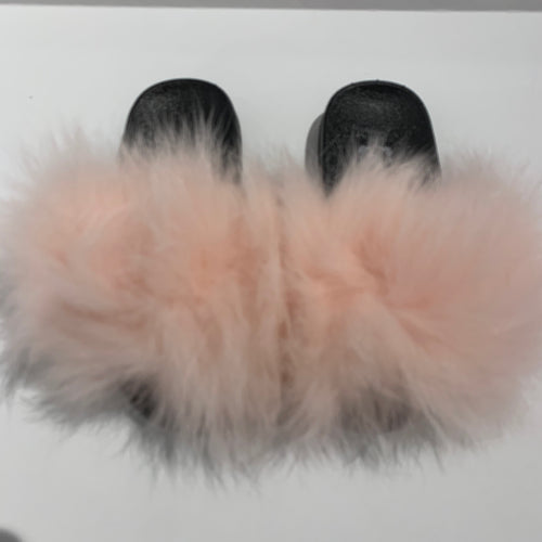 CHLOE K Fur Slippers Light Pink