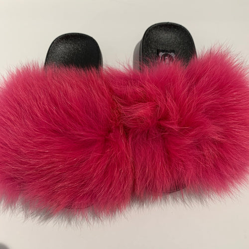 CHLOE K Fur Slippers Hot Pink