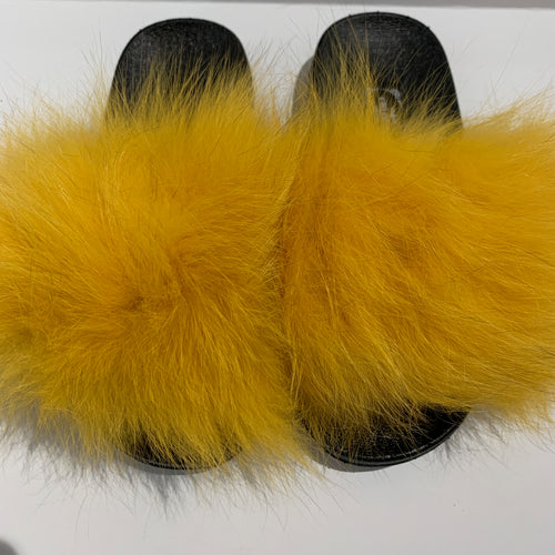 CHLOE K Fur Slippers Yellow