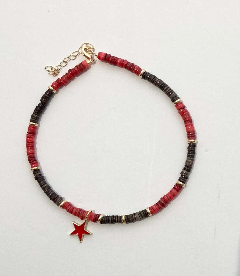 HIJA DE PUKA Red and Brown Necklace