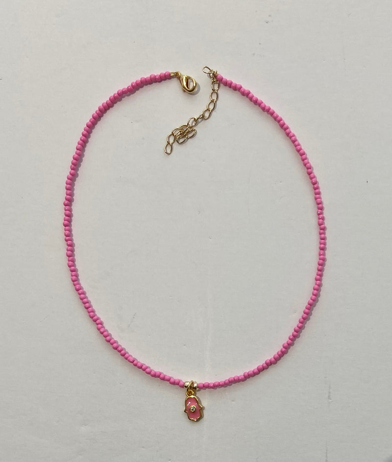 HIJA DE PUKA Pink Necklace with Hand Pendant
