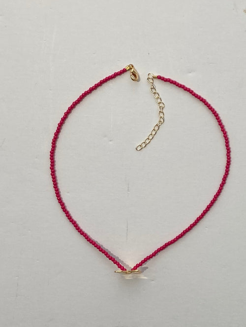 HIJA DE PUKA Fucsia Choker with Gold Butterfly