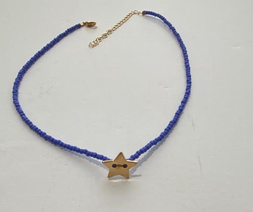 HIJA DE PUKA Blue Choker with Gold Star