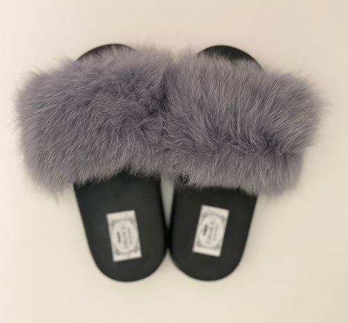 CHLOE K Fur Slippers Grey