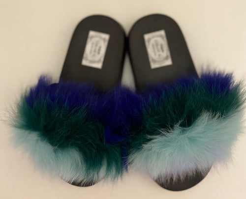 CHLOE K Fur Slippers in  Turquoise/Blue/Green