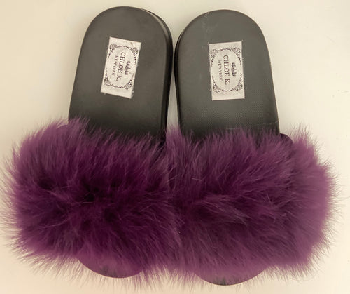 CHLOE K Fur Slippers Purple