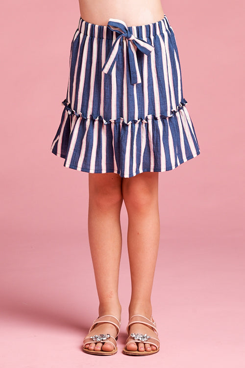 FOR ALL SEASON Navy/Multi Striped Skirt