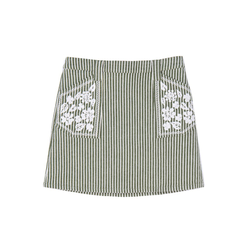 VELVETEEN Rhea Olive and White Girl Skirt