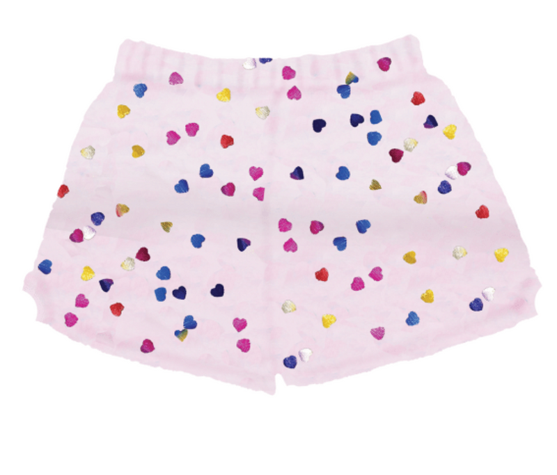 ISCREAM Colorful Foil Hearts Plush Shorts