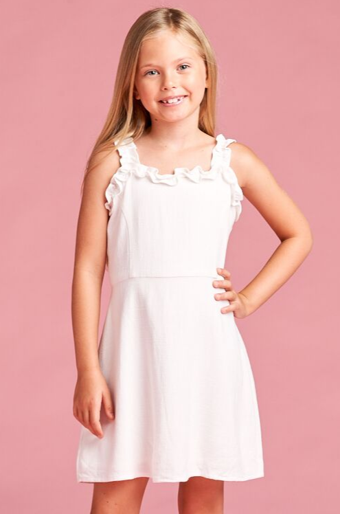 for all season White dress with ruffle details on straps and neckline.