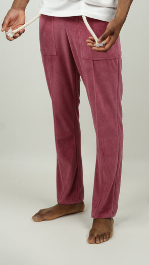 Maison MRL Velvet Trackpants Burgundy